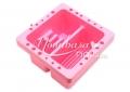 Ecsetmosó és tartó tál 16 x 16 x 9 cm  rózsaszín