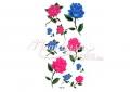 Csillámos kék és magenta rózsa mintás lemosható tetoválás