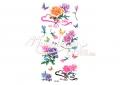 Színes virágok és lepkék mintás lemosható tetoválás