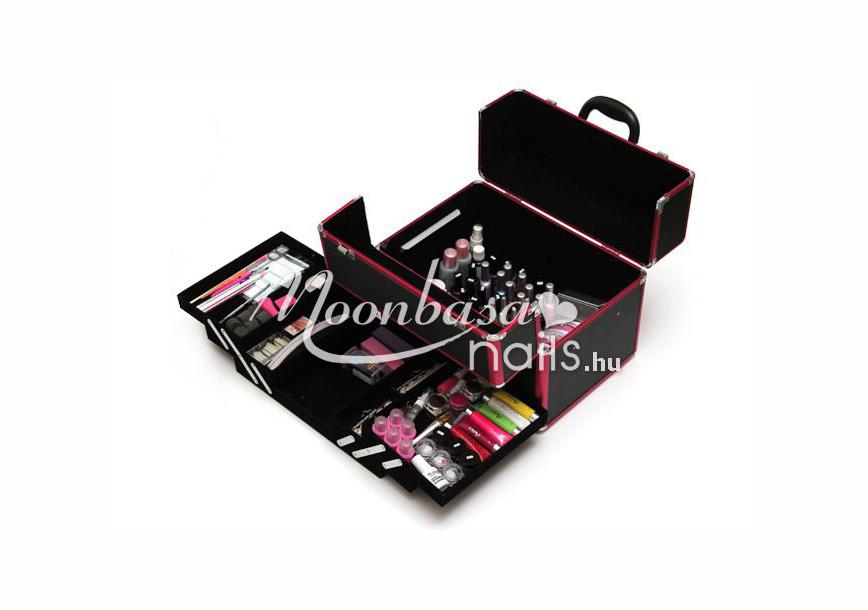 Műkörmös táska  #380-BP Metál pink-fekete