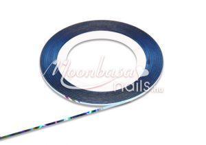 Világos kék, szivárvány fénnyel Műköröm díszítő csík  #10