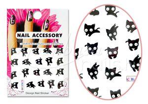 Fekete cica Akril hatású matrica  BLE1498