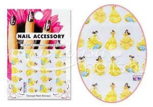 Belle aranyszín ruhában Akril hatású matrica  BLE1706