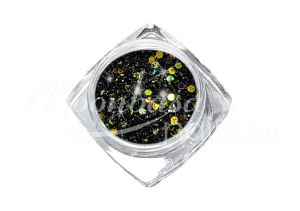 Flitterpor 5ml FP052 Fekete arany csillámmal