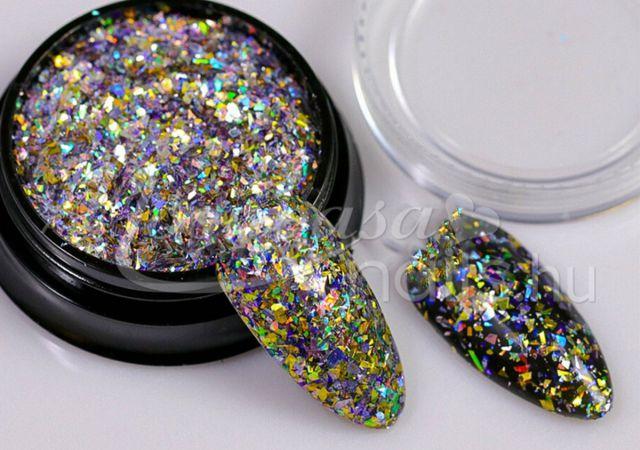 Glitter páva  #01 Króm