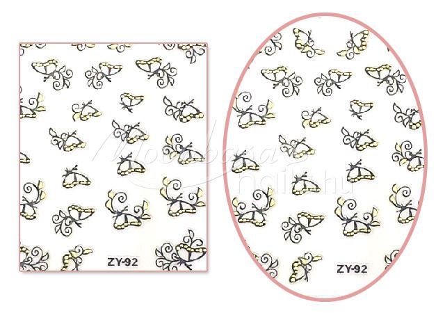 Fekete-arany pillangók V5 mintájú Köröm matrica öntapadós