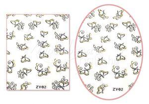 Fekete-arany pillangók V4 mintájú Köröm matrica öntapadós