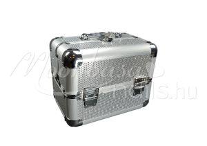 Ezüst csillámos Kozmetikai bőrönd kicsi  #280-S