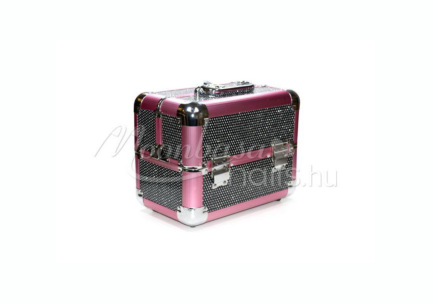 f2b3e167496e Rózsaszín-fekete csillámos Kozmetikai bőrönd kicsi #280-B műkörmös ...