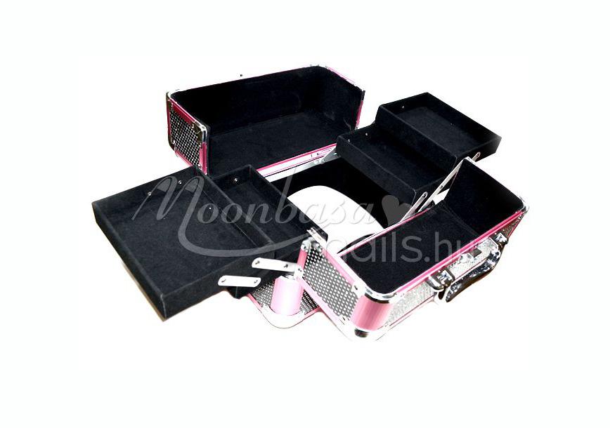 Kozmetikai bőrönd kicsi  #280-B Rózsaszín-fekete csillámos