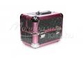 {$metatitle_ackio} Rózsaszín-fekete csillámos Kozmetikai bőrönd kicsi   műkörmös alapanyagok, kellékek szállításához