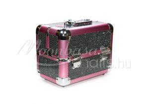 Rózsaszín-fekete csillámos Kozmetikai bőrönd kicsi  #280-B