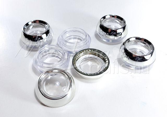 Műanyag Kerek tégely 12x3ml/tálca #013 Ezüst kupakélű