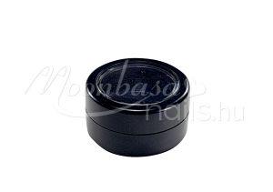 Fekete Műanyag körömdísz tároló tégely átlátszó tetővel 3ml #027