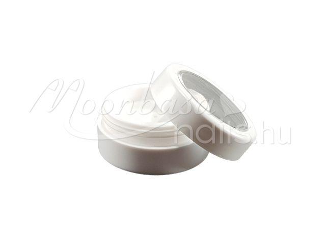 Műanyag körömdísz tároló tégely átlátszó tetővel 3ml #028 Fehér