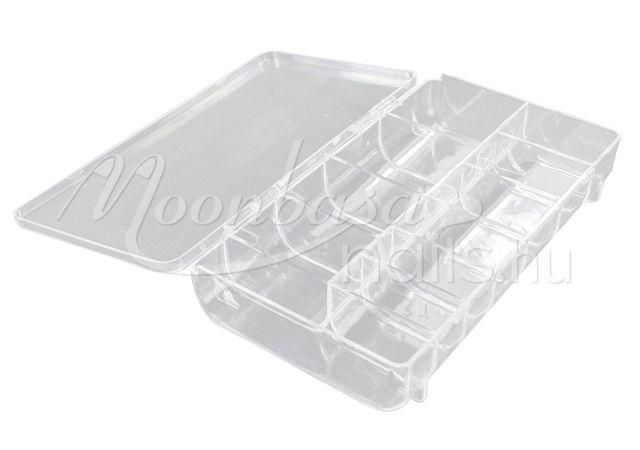 Műanyag Nail tip tároló doboz 11 rekeszes #021 Átlátszó