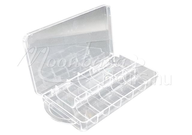 Műanyag Nail tip tároló doboz 11 rekeszes #022 Átlátszó