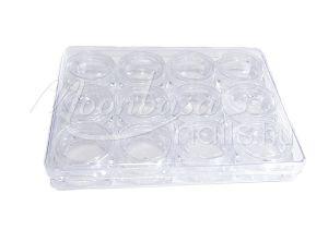 Átlátszó Műanyag Szögletes tégely 12x5ml/tálca #006