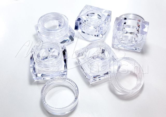 Műanyag Szögletes tégely 12x5ml/zacskó #014 Átlátszó