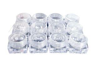 Átlátszó Műanyag Szögletes tégely 12x5ml/zacskó #014