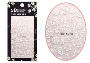Virágok Öntapadós köröm matrica  5D-K020