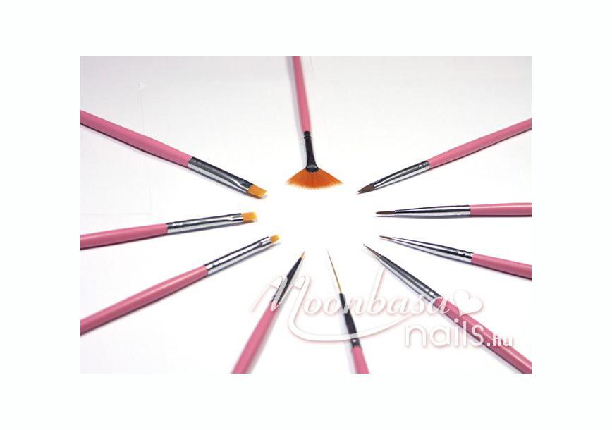 Rózsaszín ecset szett 10 db  S001 rózsaszín