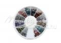 Strasszkő, kör tégelyes, #020, 12 vegyes színű