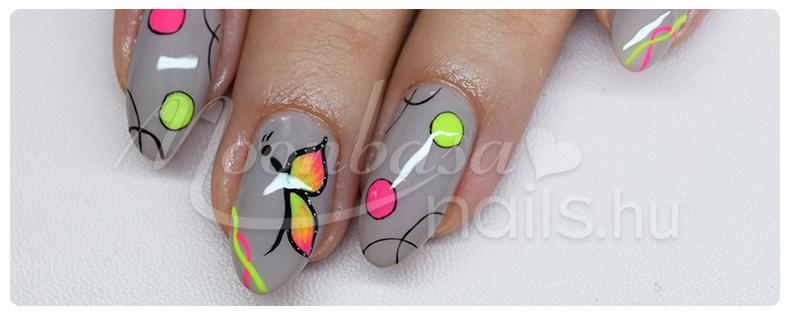 neon pillangós gél lakkos körömdíszítés