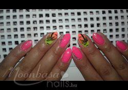 Nyári köröm!: színes zselé, géllak, sellőpor, strassz, Neon rózsaszín, Neon sárga, Neon narancssárga